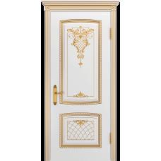 Ульяновская дверь Аристократ белая эмаль патина золото ДГ