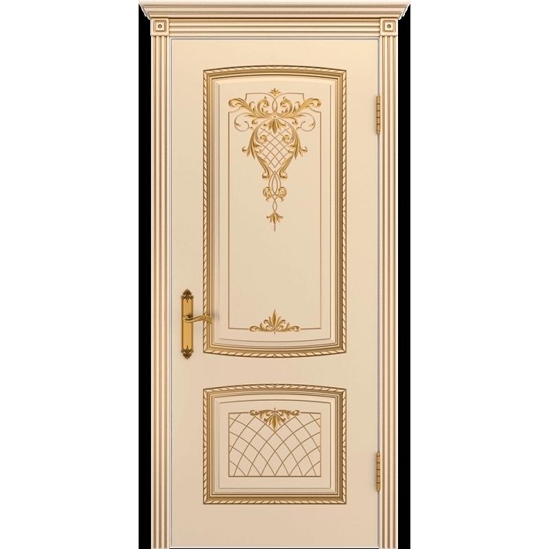 Ульяновская дверь Аристократ эмаль слоновая кость патина золото ДГ