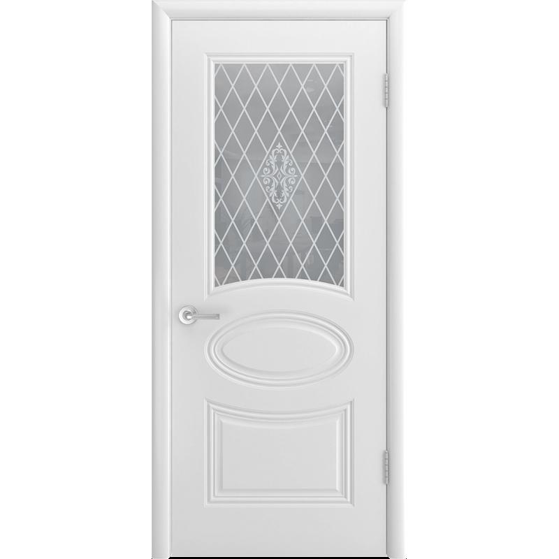Ульяновская дверь Багет-1С белая эмаль  ДО