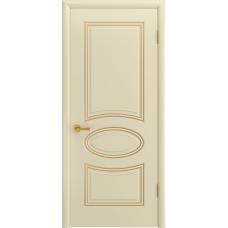 Ульяновская дверь Багет-1С эмаль слоновая кость патина золото ДГ