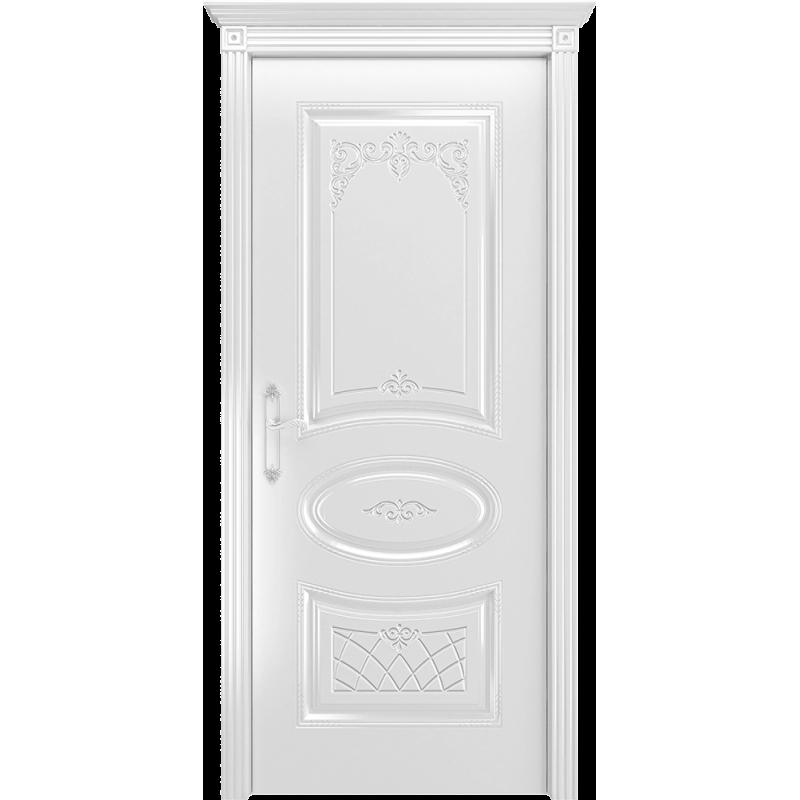 Ульяновская дверь Багет-3 белая эмаль  ДГ