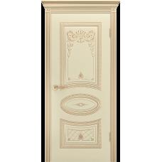 Ульяновская дверь Багет-3 корона эмаль слоновая кость патина золото ДГ