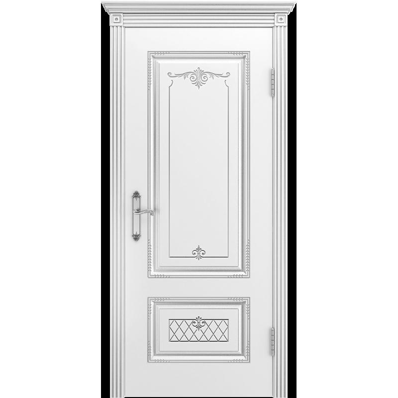 Ульяновская дверь Британия-3 белая эмаль патина серебро ДГ