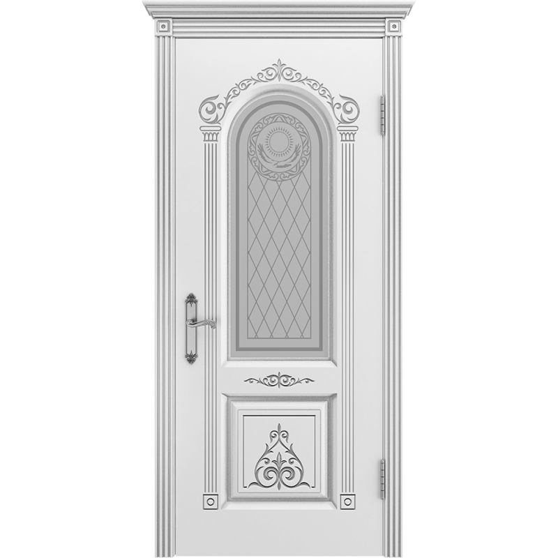 Ульяновская дверь Ода-3 белая эмаль патина серебро ДО