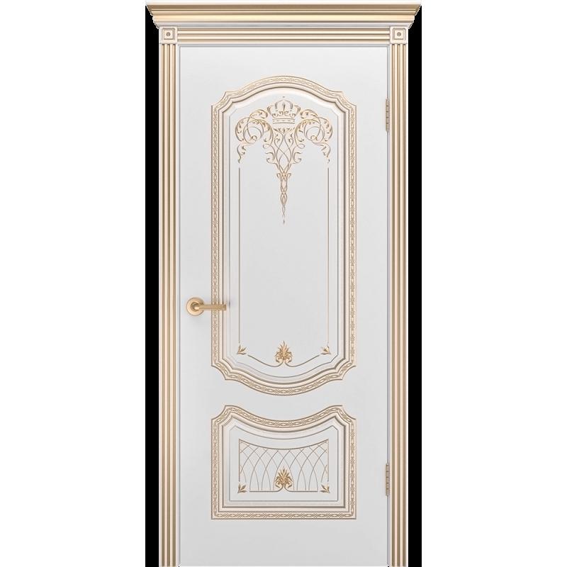Ульяновская дверь Премьера-3 корона белая эмаль патина золото ДГ