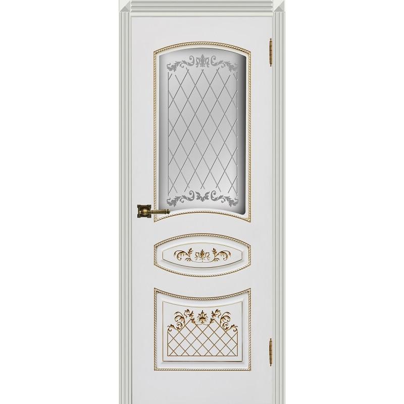 Дверь Карина-3 белая эмаль патина золото ДО