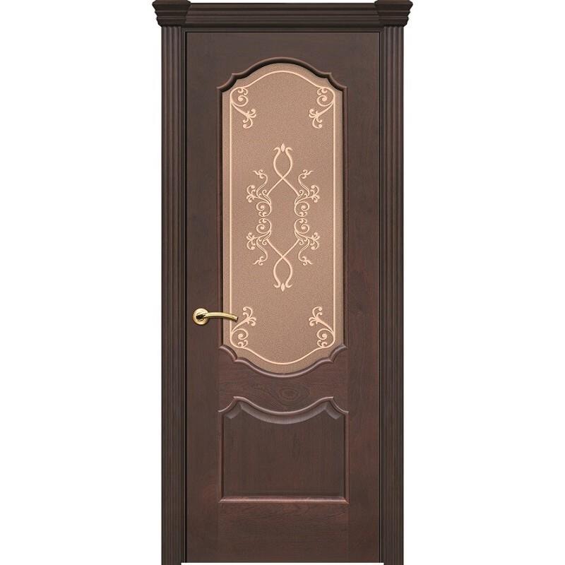 Ульяновская дверь Рубин-2 красное дерево тёмное ДО