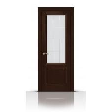 Дверь СитиДорс модель Малахит-1 цвет Венге стекло