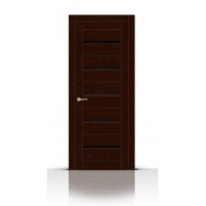 Дверь СитиДорс модель Турин-5 цвет Ясень шоколад триплекс чёрный