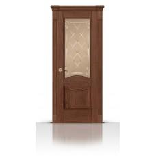 Дверь СитиДорс модель Онтарио цвет Дуб миндаль стекло Вензель