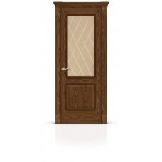 Дверь СитиДорс модель Бристоль цвет Дуб морёный стекло бронза гравировка ромб