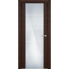 Дверь Status Versia модель 222 Орех стекло калёное с гравировкой