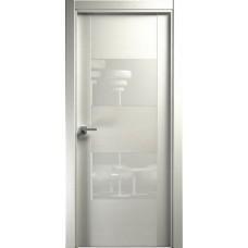 Дверь Status Versia модель 221 Дуб белый стекло лакобель белый