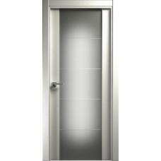 Дверь Status Versia модель 222 Дуб белый стекло калёное с гравировкой
