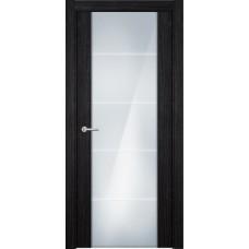 Дверь Status Versia модель 222 Дуб чёрный стекло калёное с гравировкой