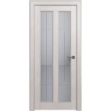 Дверь Status Fusion модель 612 Дуб белый стекло калёное с гравировкой