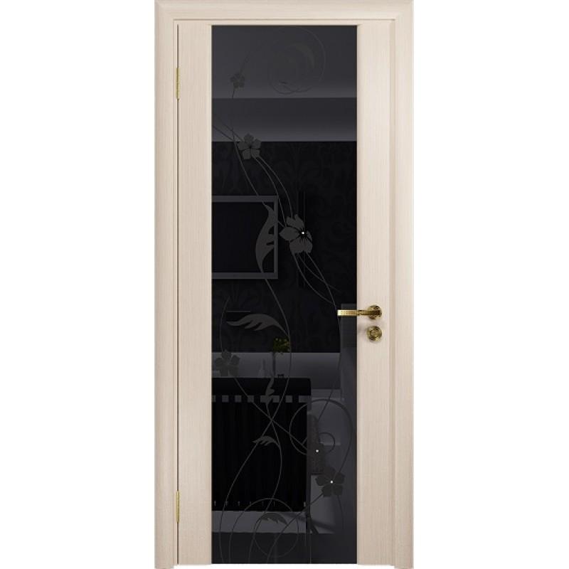 Межкомнатная Дверь DioDoor Винтаж-2 беленый дуб черный триплекс Вьюнок глянцевый