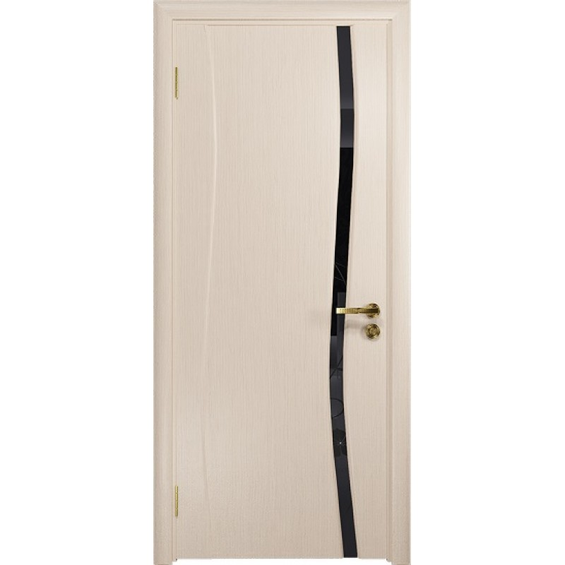 Межкомнатная Дверь DioDoor Грация-1 беленый дуб черный триплекс Вьюнок глянцевый