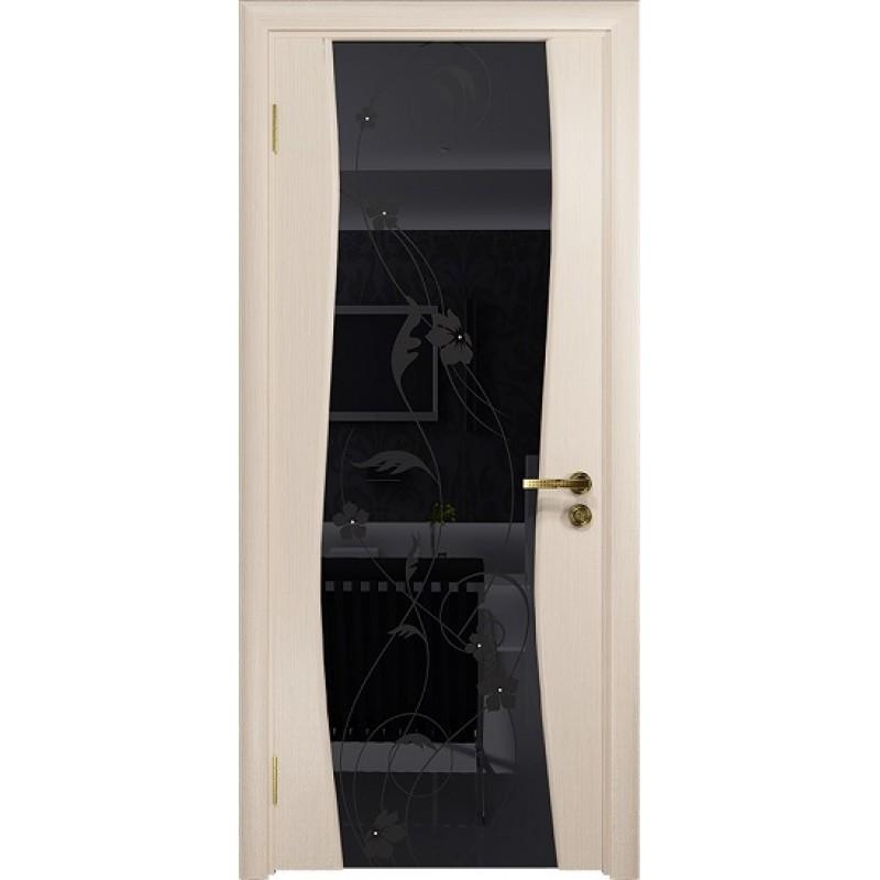 Межкомнатная Дверь DioDoor Грация-3 беленый дуб черный триплекс Вьюнок глянцевый