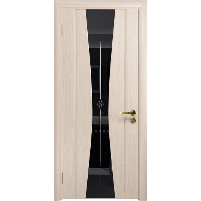 Межкомнатная Дверь DioDoor Соната-2 беленый дуб черный триплекс гравировка Звезда