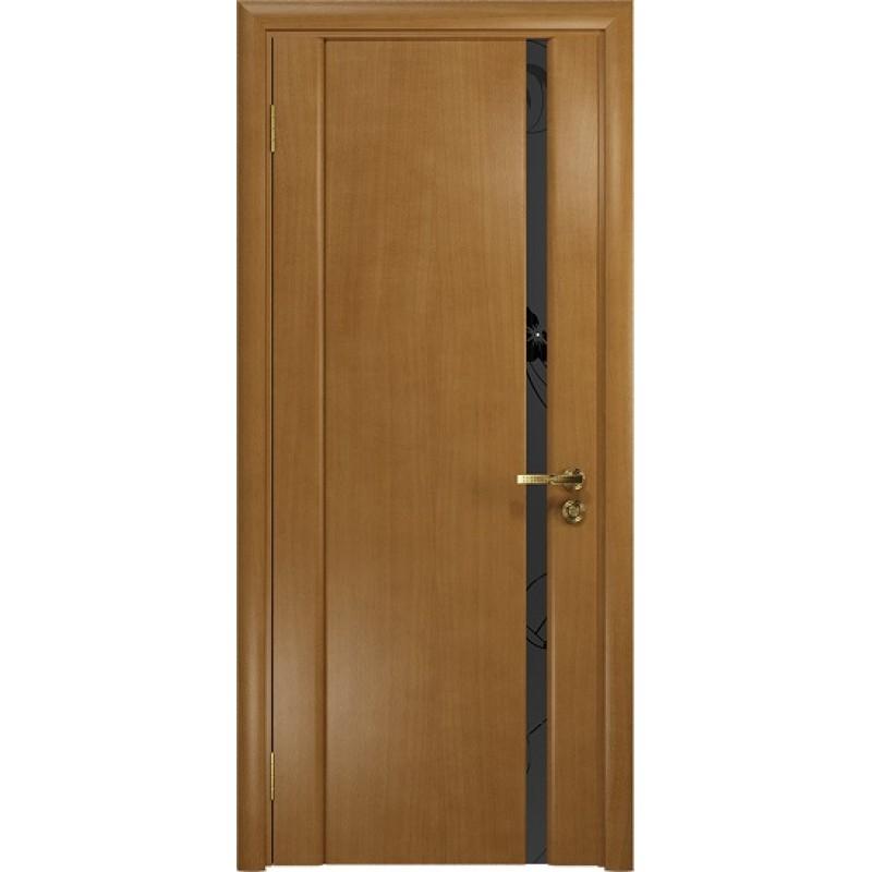 Межкомнатная Дверь DioDoor Винтаж-1 анегри черный триплекс Вьюнок матовый