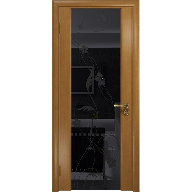Межкомнатная Дверь DioDoor Винтаж-2 анегри черный триплекс Вьюнок глянцевый
