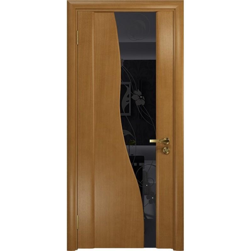 Межкомнатная Дверь DioDoor Торелло анегри черный триплекс Вьюнок глянцевый