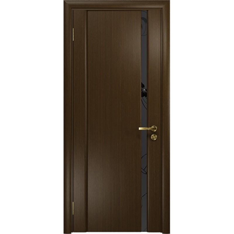 Межкомнатная Дверь DioDoor Винтаж-1 венге черный триплекс Вьюнок матовый