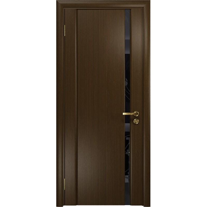 Межкомнатная Дверь DioDoor Винтаж-1 венге черный триплекс Вьюнок глянцевый