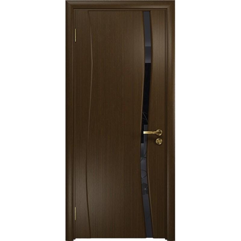 Межкомнатная Дверь DioDoor Грация-1 венге черный триплекс Вьюнок глянцевый