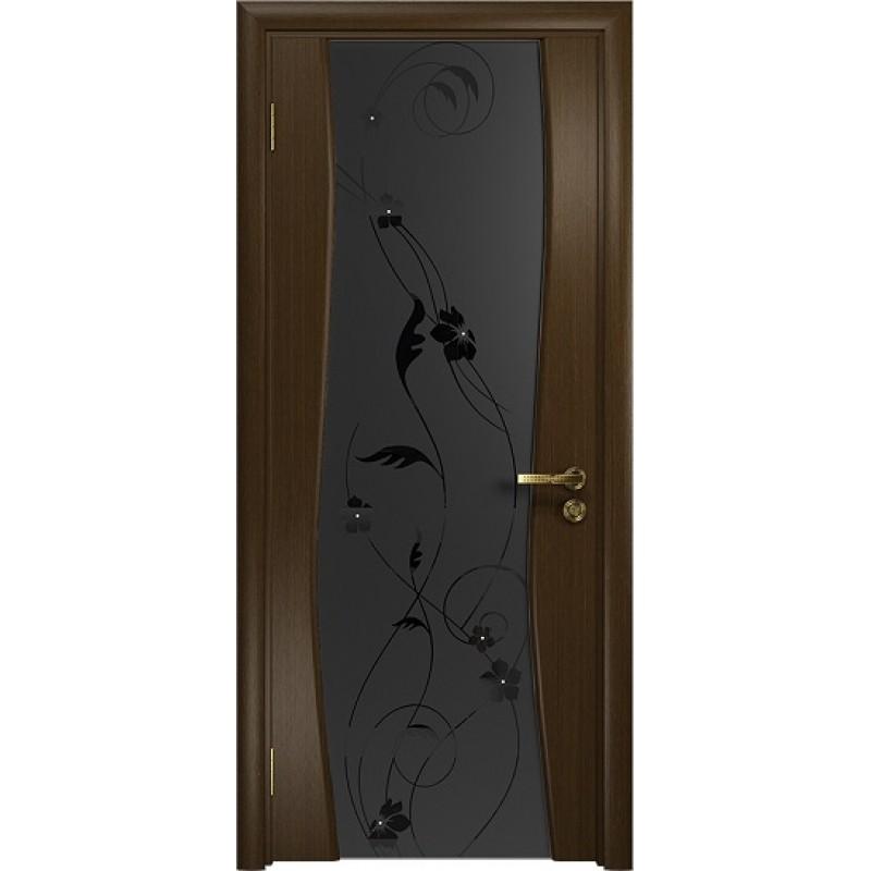 Межкомнатная Дверь DioDoor Грация-3 венге черный триплекс Вьюнок матовый