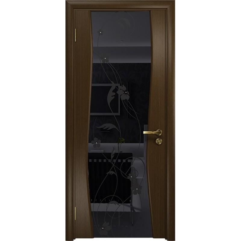 Межкомнатная Дверь DioDoor Грация-3 венге черный триплекс Вьюнок глянцевый