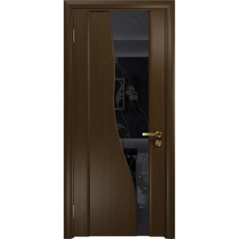 Межкомнатная Дверь DioDoor Торелло венге черный триплекс Вьюнок глянцевый