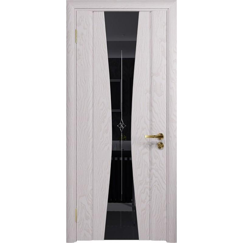 Межкомнатная Дверь DioDoor Соната-2 ясень белый черный триплекс гравировка Звезда