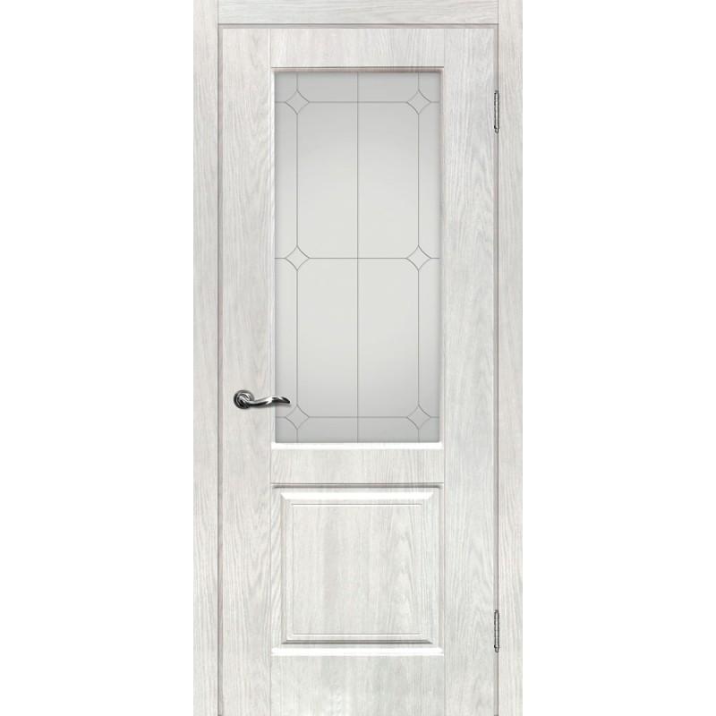 Межкомнатная Дверь МариаМ Версаль-1 Дуб жемчужный стекло контур серебро