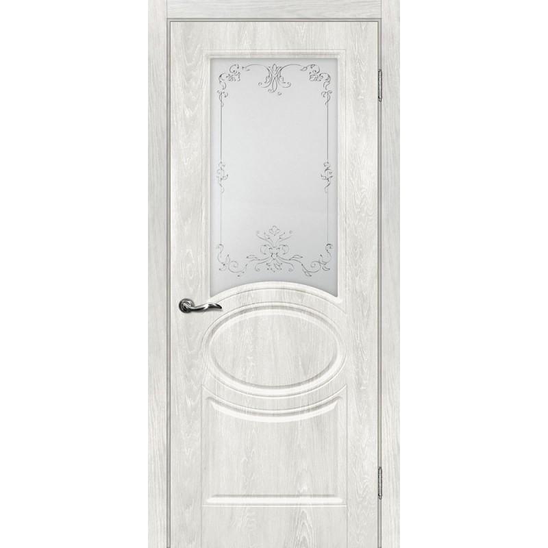 Межкомнатная Дверь МариаМ Сиена-1 Дуб жемчужный стекло контур серебро