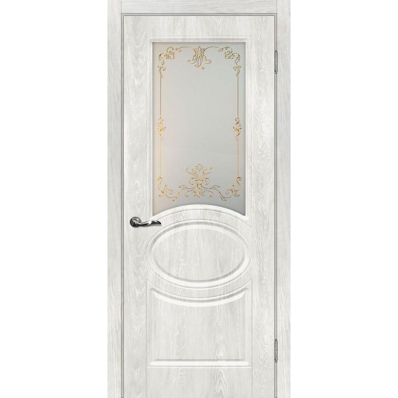Межкомнатная Дверь МариаМ Сиена-1 Дуб жемчужный стекло контур золото