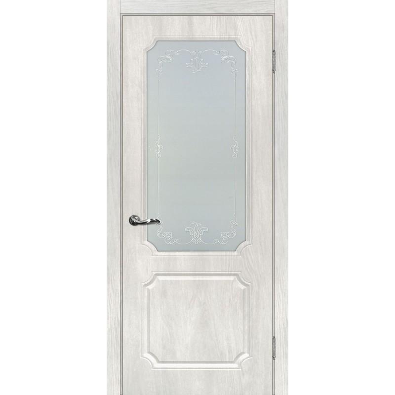 Межкомнатная Дверь МариаМ Сиена-4 Дуб жемчужный стекло контур серебро
