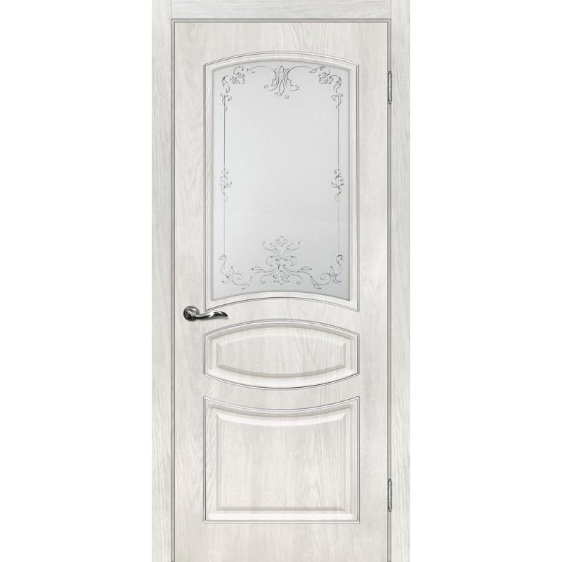 Межкомнатная Дверь МариаМ Сиена-5 Дуб жемчужный стекло контур серебро