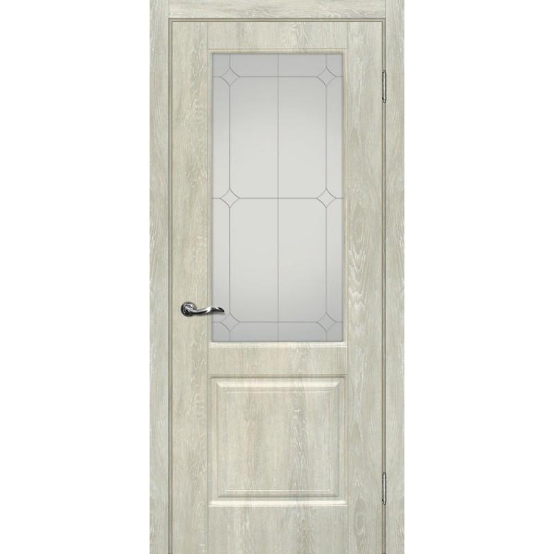 Межкомнатная Дверь МариаМ Версаль-1 Дуб седой стекло контур серебро