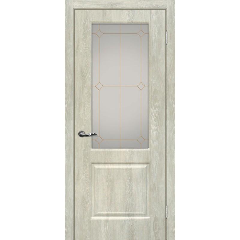Межкомнатная Дверь МариаМ Версаль-1 Дуб седой стекло контур золото