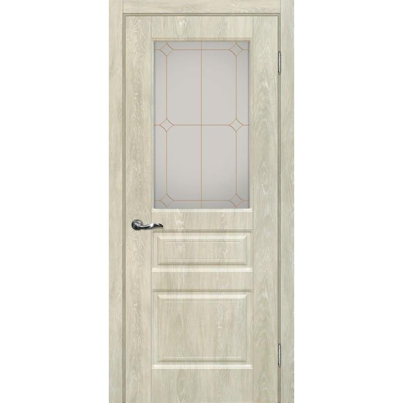 Межкомнатная Дверь МариаМ Версаль-2 Дуб седой стекло контур золото