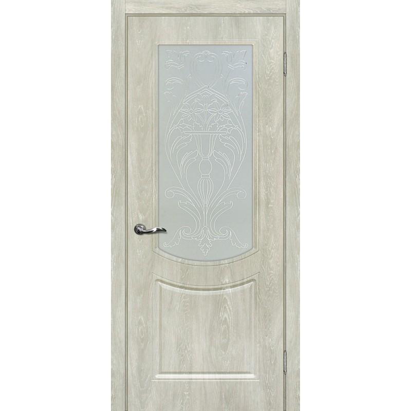 Межкомнатная Дверь МариаМ Сиена-3 Дуб седой стекло контур золото