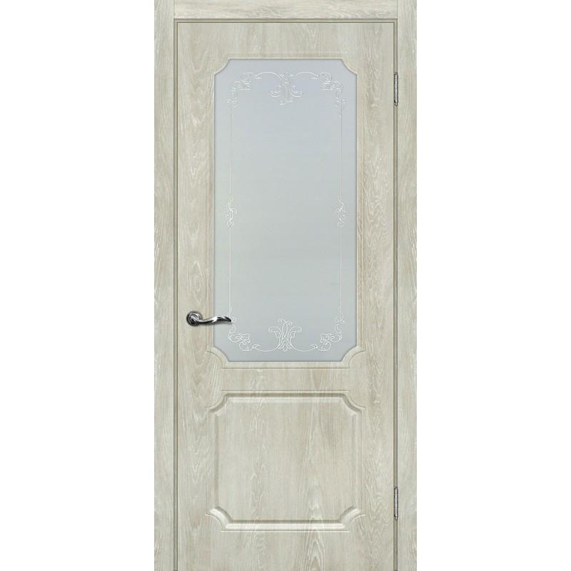 Межкомнатная Дверь МариаМ Сиена-4 Дуб седой стекло контур серебро