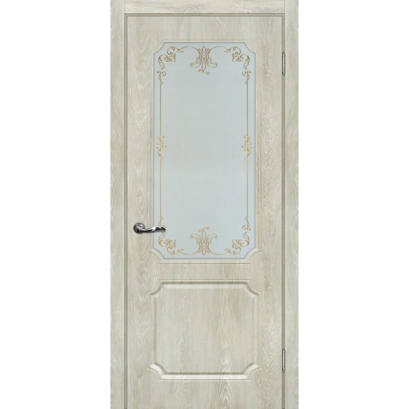 Межкомнатная Дверь МариаМ Сиена-4 Дуб седой стекло контур золото