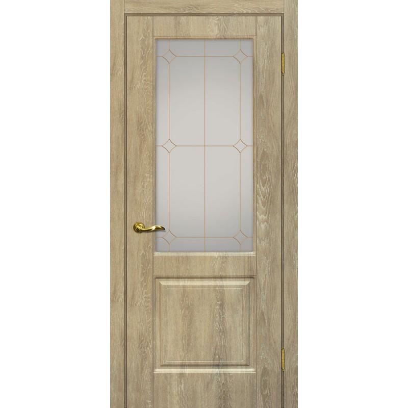 Межкомнатная Дверь МариаМ Версаль-1 Дуб песочный стекло контур золото