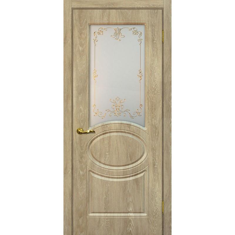 Межкомнатная Дверь МариаМ Сиена-1 Дуб песочный стекло контур золото