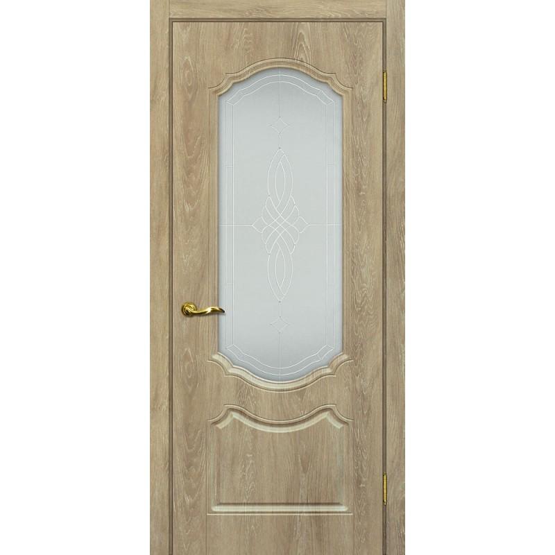 Межкомнатная Дверь МариаМ Сиена-2 Дуб песочный стекло контур серебро