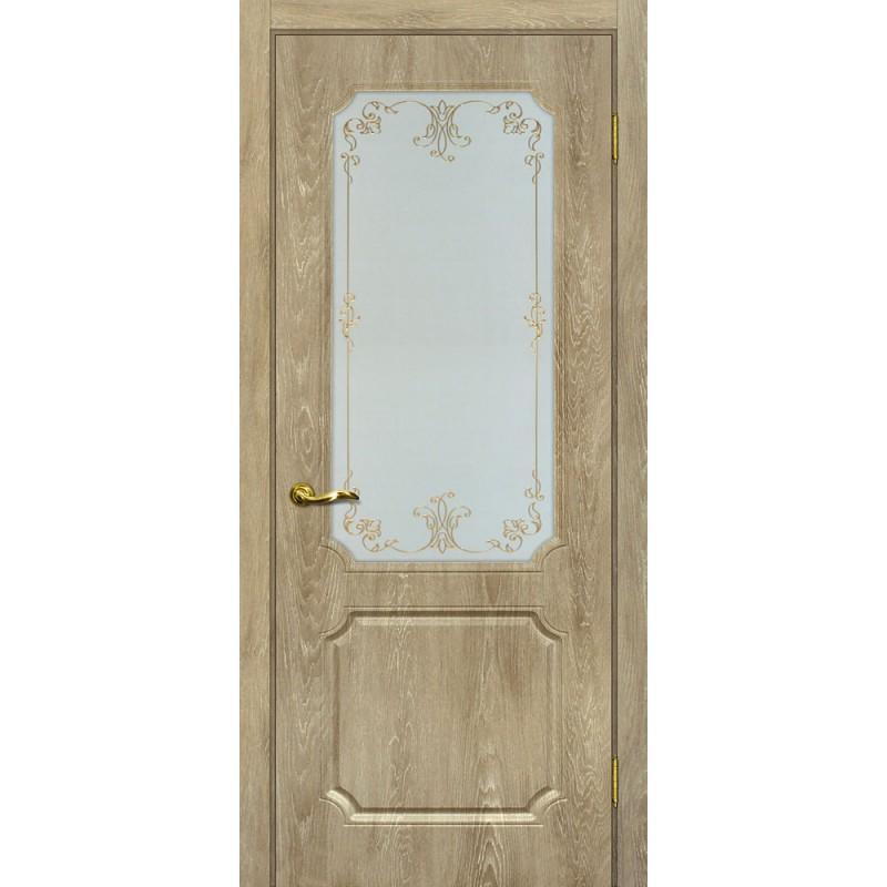 Межкомнатная Дверь МариаМ Сиена-4 Дуб песочный стекло контур золото