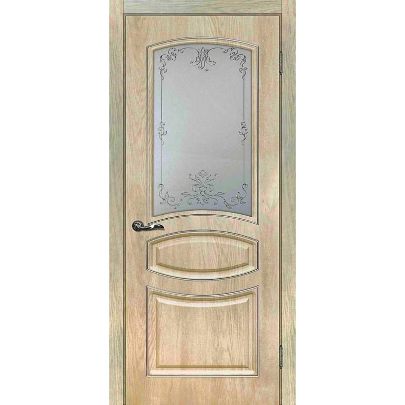 Межкомнатная Дверь МариаМ Сиена-5 Дуб песочный стекло контур золото